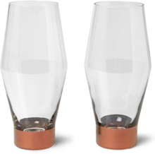 Tank Set Of Two Painted Beer Glasses - Clear