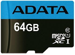 ADATA 64GB MicroSDXC minneskort, UHS-I, Klass 10, A1, blå