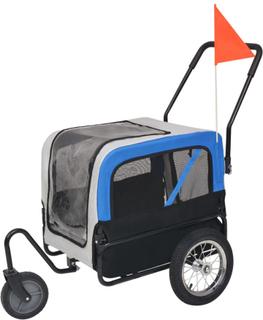 vidaXL 2-i-1-cykelvagn för husdjur och joggingvagn grå och blå