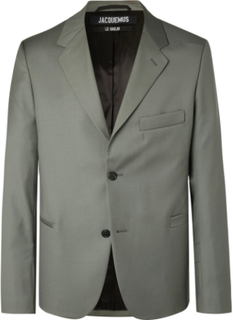 Grey-green Virgin Wool Suit Jacket - Green