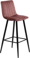 Enya sammet barstol i Rosa med svarta ben och sitshöjd 65 cm