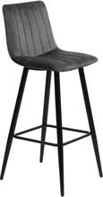 Enya sammet barstol i Grå med svarta ben och sitshöjd 75 cm