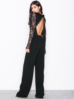 NLY Trend Sheer Lace Jumpsuit Jumpsuits Svart