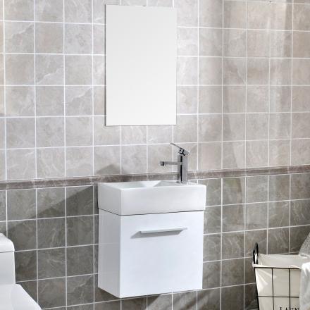 Badrumsmöbel paket - Tvättställsskåp och badrumsspegel - Högblank vit