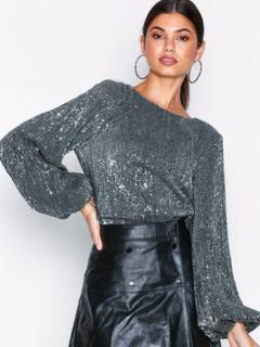 NLY Trend Balloon Sleeve Sequin Top Långärmade toppar Silver