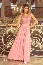 215-3 lea długa suknia bez rękawków z haftowanym dekoltem - pudrowy ró