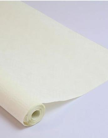 8 meter Kremfarget Damaskmønstret Papirduk på Rull
