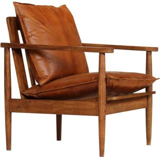 vidaXL lænestol ægte læder med akacietræ brun