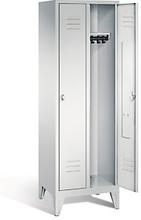Garderobenschrank mit Füßen in grau, Zylinderschloss, 2 Türen