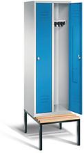 Garderobenschrank mit Bank 2-türig mit Zylinderschloss blau