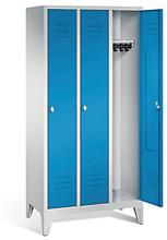 Garderobenschrank mit Füßen in blau, Zylinderschloss, 3 Türen