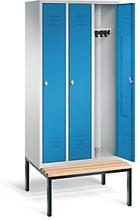 Garderobenschrank mit Bank 3-türig mit Drehschloss blau