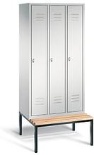 Garderobenschrank mit Bank 3-türig mit Zylinderschloss grau