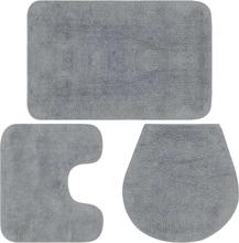 vidaXL Badrumsmattor 3 st tyg grå