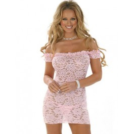 Pink Lace Babydoll With G-string