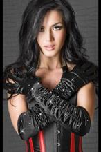 Satin gloves black with stones S-L