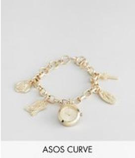 ASOS DESIGN Curve - Guldklocka med berlocker med religiösa motiv i vintagestil - Guld