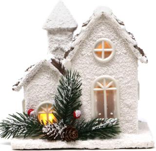 Hvitt Julehus med Grankvister og LED-Lys 18 cm