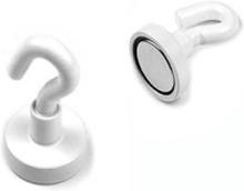 Pottemagnet med krog, Hvid Ø16 mm.