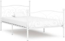 vidaXL Sängram med ribbotten vit metall 90x200 cm