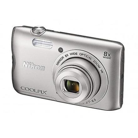 Nikon Coolpix sølv kompakt, rom A300