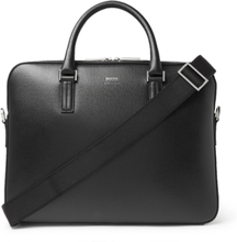 Cross-grain Leather Briefcase - Black