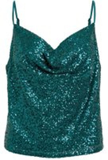 VILA Sequin Sleeveless Top Kvinna Grön