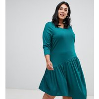 Junarose uneven drop hem dress - Green