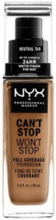 NYX Professional Makeup Can't Stop Won't Stop Foundation Neutral Tan