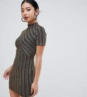 ASOS DESIGN Petite cut about gold stripe mini dress - Gold