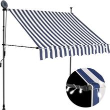vidaXL Markis manuellt infällbar med LED 200 cm blå och vit