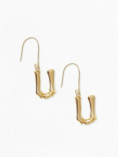 NLY Accessories Bamboo Letter Earrings Øreringe U