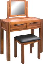 vidaXL Sminkbord med pall och spegel massivt akaciaträ
