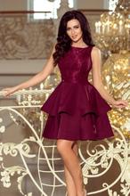 205-2 LAURA podwójnie rozkloszowana sukienka z koronkową górą - BORDOW