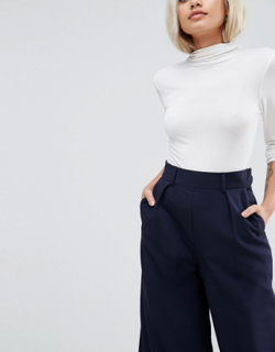 ASOS PETITE The Wide Leg Trouser with Pleat Detail-Navy