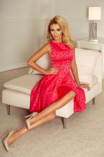 175-2 Wyjątkowa sukienka z dłuższym tyłem - żakard kółeczka MALINA