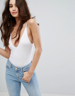 Boohoo basic v neck strappy body - White