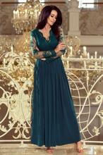 213-1 ARATI długa suknia z haftowanym dekoltem i długim rękawkiem - ZI