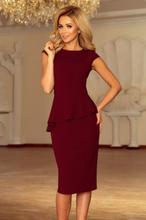 192-6 elegancka sukienka midi z baskinką - bordowa