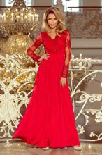 213-3 ARATI długa suknia z haftowanym dekoltem i długim rękawkiem - CZ