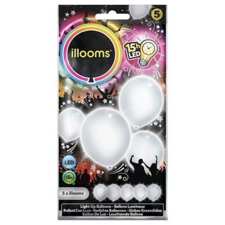 Illooms LED Balloner med lys 5 stk hvid