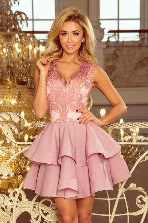 200-5 charlotte - ekskluzywna sukienka z koronkowym dekoltem - pudrowy