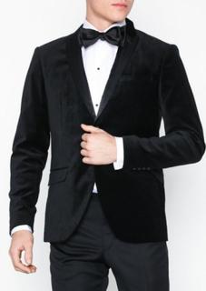 Selected Homme Slhslim-Velour Blazer B Blazere & dresser Svart