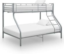 vidaXL Våningssäng grå metall 140x200/90x200 cm