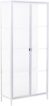 Marton vitrineskab i stål med 2 glaslåger - Hvid