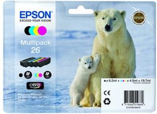 Paket 4st bläckpatroner Epson 26(C13T26164010)