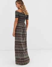 Brave Soul juliet off shoulder maxi dress in paisley mix-Black