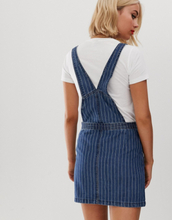 Brave Soul maya dungaree dress in pinstripe denim-Blue