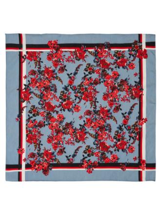 PIECES Floral-print Square Scarf Women Blue
