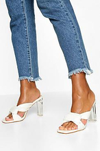 Knot Front Clear Heel Mules